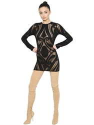 Balmain Arabesque Stretch Cotton Jersey Dress