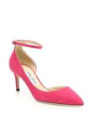 Jimmy Choo Suede D'orsay Ankle Strap Pumps Fuchsia Emerald Navy