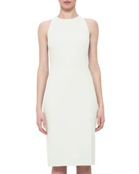 Akris Sleeveless Wool Crepe Sheath Dress Pelican