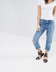 New Look Turn Up Busted Knee Jeans Pale Blue