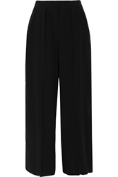 Iris And Ink Ingrid Crepe Cropped Wide Leg Pants Black