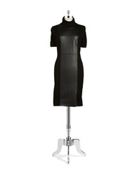 Calvin Klein Leatherette Panelled Sheath Dress Black