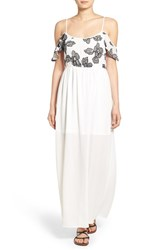 Women's Trixxi Embroidered Cold Shoulder Maxi Dress
