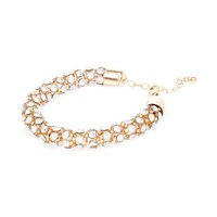 River Island Womens Gold Tone Encrusted Rope Bracelet