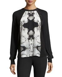 L.A.M.B. Rose Photo Print Blouse White Black