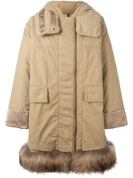 Moncler Raccoon Fur Trim Hooded Coat Nude And Neutrals