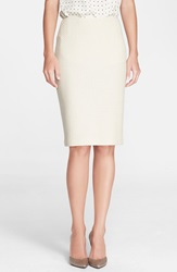 St. John Vertical Mini Loop Knit Pencil Skirt Linen