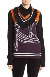 Tory Burch Women's 'Brynn' Sweater With Removable Scarf Royal Plum New Ivory Orange