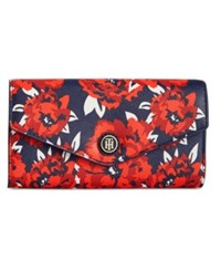 Tommy Hilfiger Th Enamel Serif Logo Printed Clutch Wallet Red Navy