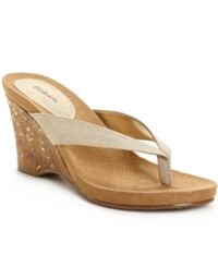 Style And Co. Chicklet Wedge Sandals Women's Shoes Natural Sparkle