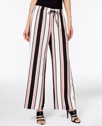 Calvin Klein Striped Wide Leg Pants Black White Multi Stripe