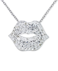 Sis By Simone I Smith Sis By Simone I. Smith Clear Crystal Lips Pendant Necklace In Platinum Over Sterling Silver