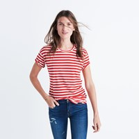 Madewell Whisper Cotton Crewneck Tee In Sammie Stripe Siberian Red