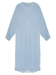 Mes Demoiselles Stitch V Neck Cotton Dress Light Blue