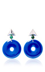 Elizabeth Kennedy Large Geometric Clip On Earrings Blue