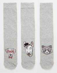 Asos Socks 3 Pack With Animal Faces Design Navy