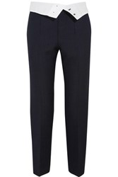 Joseph Yoyo Pinstriped Wool Blend Crepe Tapered Pants Black