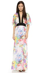 Mason By Michelle Mason Obi Belt Gown Print