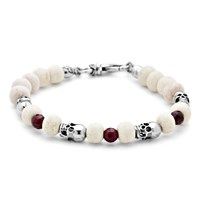 Platadepalo Silver Skull Bracelet With Cow Horn And Garnet White Red