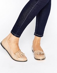 London Rebel Golan Fringe Loafer Nude Beige