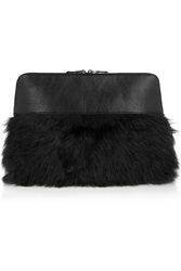 Iris And Ink Rena Shearling Paneled Leather Clutch Gray