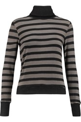 Kain Label Creyton Striped Stretch Modal Turtleneck Sweater Charcoal