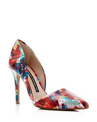 French Connection Elvia Floral D'orsay Pointed Toe Pumps Fracture Floral