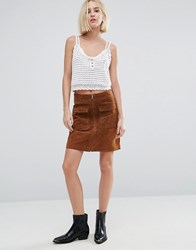 Pepe Jeans Keira Suede 70'S Mini Skirt Tobacco Brown