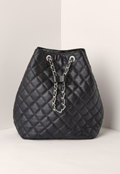 Missguided Quilted Chain Handle Backpack Black
