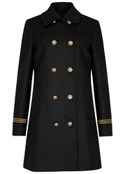 Tory Burch Optique Double Breasted Wool Blend Coat Black