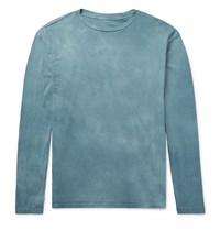 The Elder Statesman Washed Cotton Jersey T Shirt Charcoal