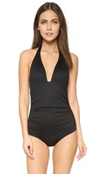 Shoshanna Ruched Halter Swimsuit Black