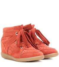 Isabel Marant Etoile Bobby Suede Wedge Sneakers Red