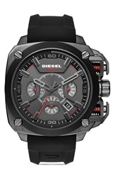 Diesel 'Bamf' Chronograph Silicone Strap Watch 55Mm Black Red