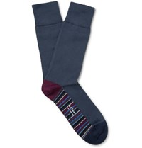 Paul Smith Striped Stretch Cotton Blend Socks Dark Gray
