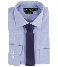 Lauren Ralph Lauren Microcheck Spread Collar Slim Button Down Shirt Blue Men's Long Sleeve Button Up