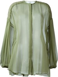 Givenchy Billowing Sleeve Sheer Blouse Green