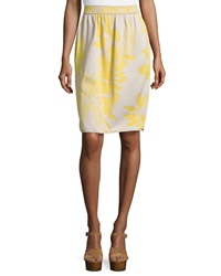 M Missoni Tropical Print Pencil Skirt Yellow White
