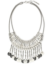 Vince Camuto Silver Tone Coin Bib Statement Necklace