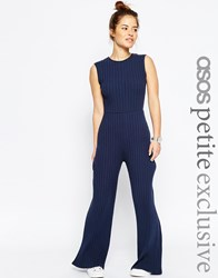 Asos Petite Casual Jumpsuit In Chunky Rib Black