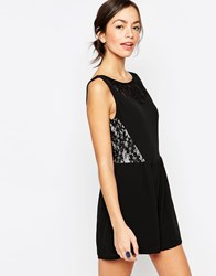 Wal G Lace Insert Playsuit Black