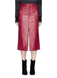 Chloe Zip Teeth Trim Split Leather Skirt Red
