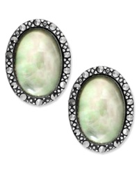 Genevieve And Grace Sterling Silver Earrings Marcasite And Gray Shell Oval Earrings 1 1 5 Ct. T.W.