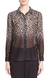 Women's Burberry London 'Aster' Print Silk Blend Blouse
