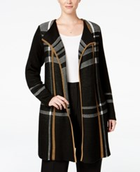 Charter Club Plus Size Plaid Duster Cardigan Only At Macy's Salty Nut Combo