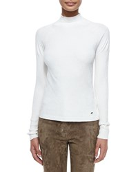 Escada Mock Neck Long Sleeve Top Off White