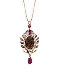 Levian 14Kt. Strawberry Gold Necklace With Smoky Quartz And Multi Stone Pendant Smokey Quartz Multicolor