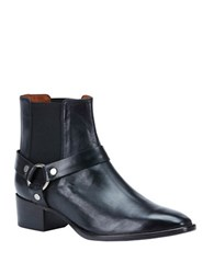Frye Dara Leather Harness Ankle Boots Black