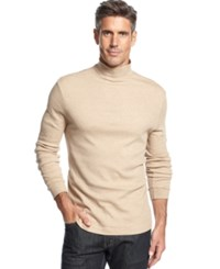John Ashford Long Sleeve Mock Neck Solid Interlock Shirt Toast Heather