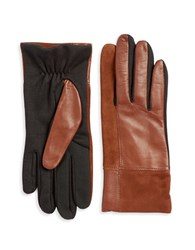 Lord And Taylor Mixed Media Tech Gloves Brown